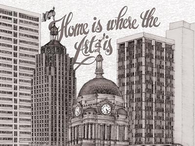 Fort Wayne Skyline for Pique cover illustration drawing ink black white stipple building flag magazine skyline city fort wayne