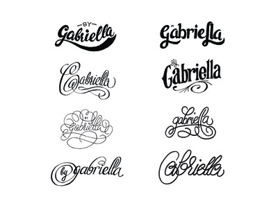 'by Gabriella' logo exploration logo lettering ink black white mark blog website typography