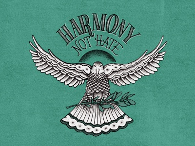 Harmony Not Hate refugees syria benefit bird dove drawing lettering illustration