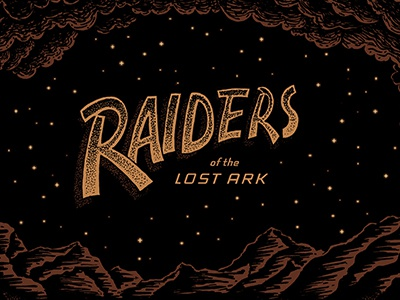 Raiders Poster indiana jones poster lettering drawing illustration