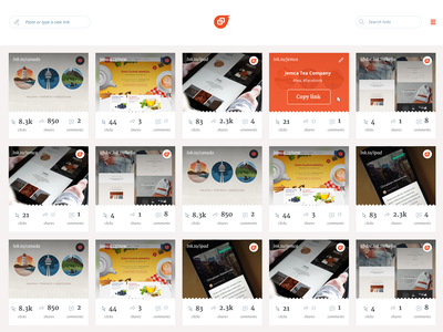 Link cards UI product ui links linkfeed cards card clean