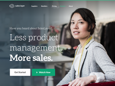 Landing Page for SalesLayer.com landing website web page green clean simple
