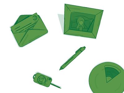 Illustrations for CeskeShopify.cz letter car key pen green illustration