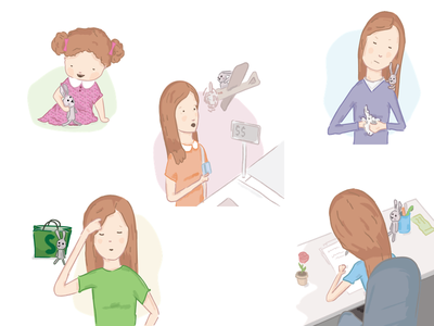 Illustrations for CeskeShopify.cz painting drawing byrocrary payment shop shopping woman rabbit girl illustrations