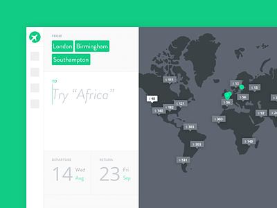 Find Flight / Kiwi.com concept date price map web app travel flight search web