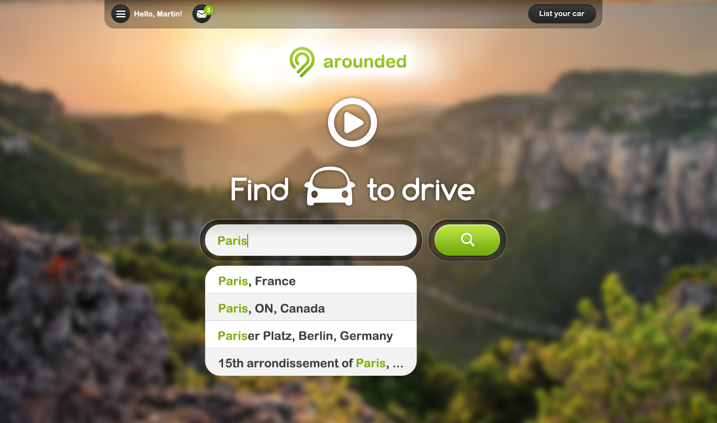 Arounded homepage