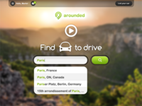 Arounded homepage - Find a car to drive!