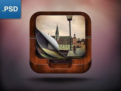 Meotar iOS icon instagram icon icons wood freebie free psd