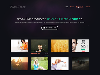 Webdesign for a video agency web video stars star dust webdesign microsite simple clean
