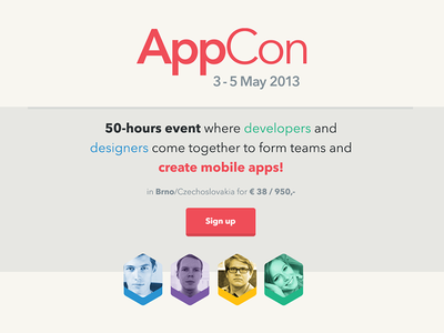 AppCon 2013 website web landing flat colors appcon conference meeting sign up