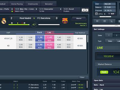 Traderline UI exchange traderline sportsbetting skeumorphic software livescore windows trading sports betting app football