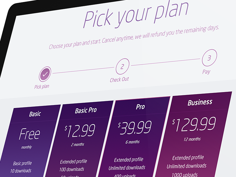 Pricing Plans Page by Marco Magro on Dribbble