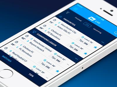 BE Live iOS mobile interface sports football livescore app ios bettingexpert tips betting