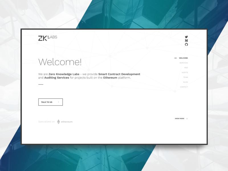 ZKLabs Landing page design minimal flat web landing page ux  ui ethereum auditing smart contract zklabs