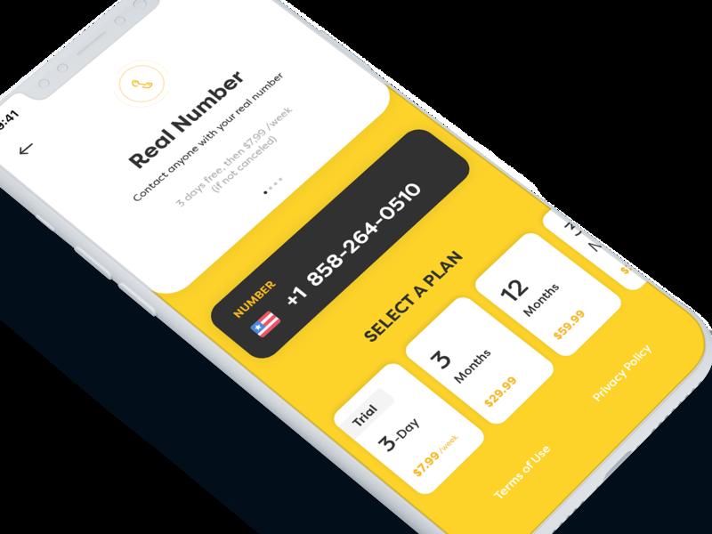 Rent-a-number - Plans iphone x calls phone number plans mobile app design photoshop sketch ux design ui design app ios