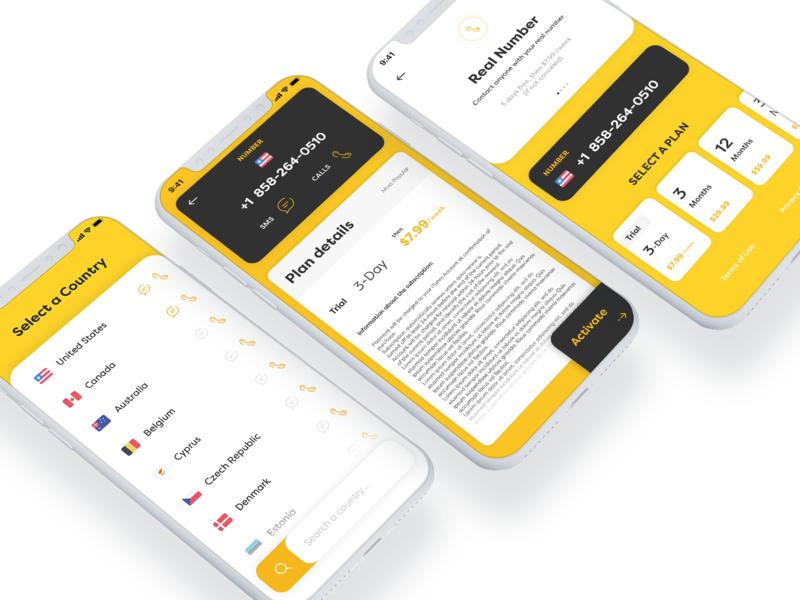 Rent-a-number iOS App adobe xd sketch photoshop mobile app design list plans calls mobile app ux designer ui designer ui ux design iphone xr ios