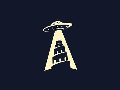 Babel logotype negativespace ufo babel illutration logo