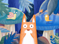 Stunned fox illustration