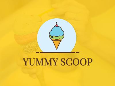 Yummy Scoop Logo creative flat vector logo design webdesign scoop yummy scoop yummy logo yummy icecream logo designer logo
