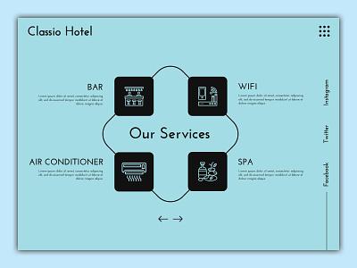 Hotel Service UI wifi spa amenities hotel service hotel logo ui banner design design webdesigner photoshop website webdesignagency uidesign website design