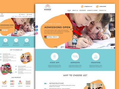 Preschool Website UI nursery kids school toddler preschool branding logo banner design design webdesigner photoshop website webdesignagency uidesign website design