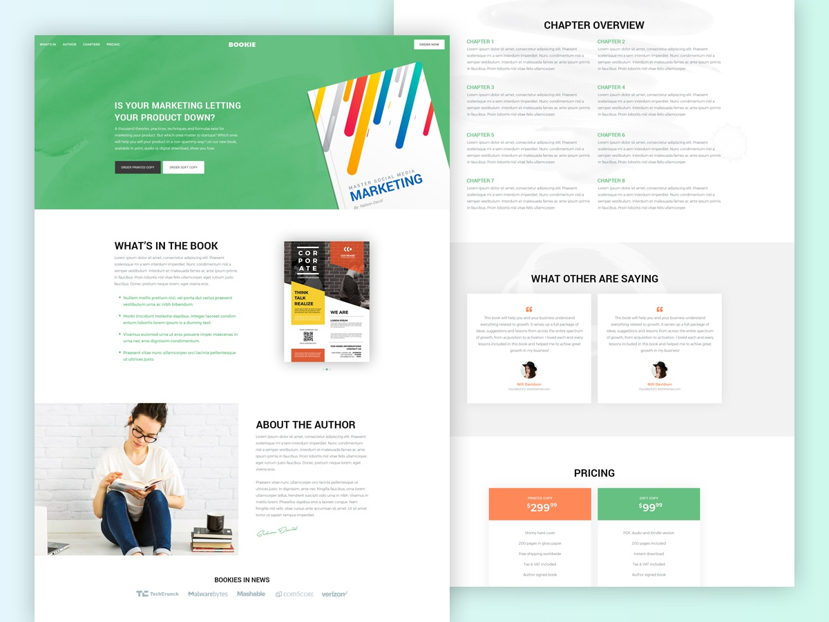 Bookie A Premium Landing Page Template Free Download By Creative