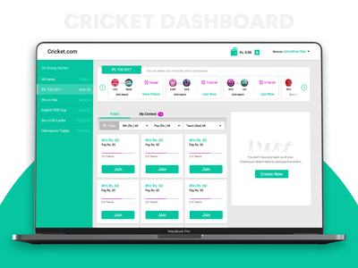 Cricket Dashboard icon app design color ux ui graphics creative cricket web web ui website card scorecard matches list dashboard score match cricket ui cricket app web