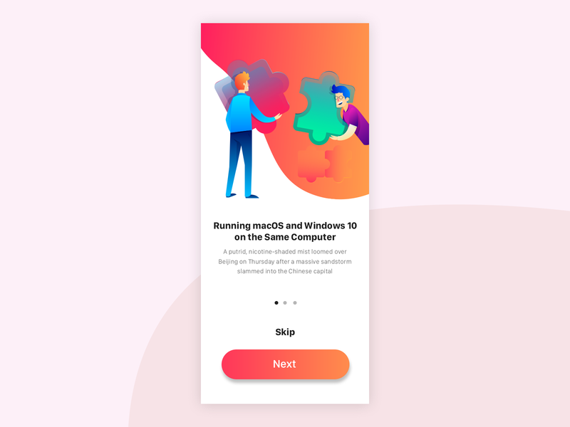 Walk through Screen UI Design pagination iconography minimal interaction onboarding illustrations uidesign creative design ux ui illustration art white gradient ui flat ui character art color gradient walk through