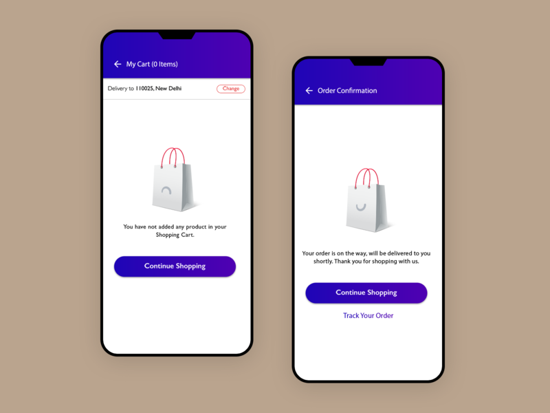 Empty Cart Vs Confirm Order design ux ui order confirmation shoping e-commerce app cart bag happy sad smiley done successful order confirmation thanks empty cart empty