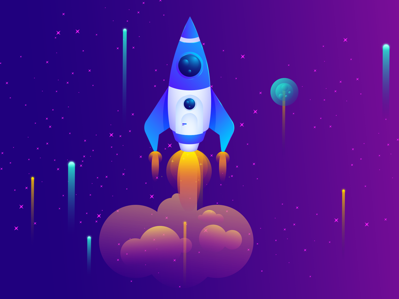 Space illustrations creative ux ui illustration graphics planet night sky stars astronaut launch vector cloud design star space art space rocket banner illustrations graphics design