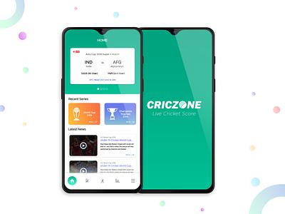 Cricket Score App !! techugo design ux ui navigation bottom bar android app india cricket gradient score green tournament team cricket app live match live score live