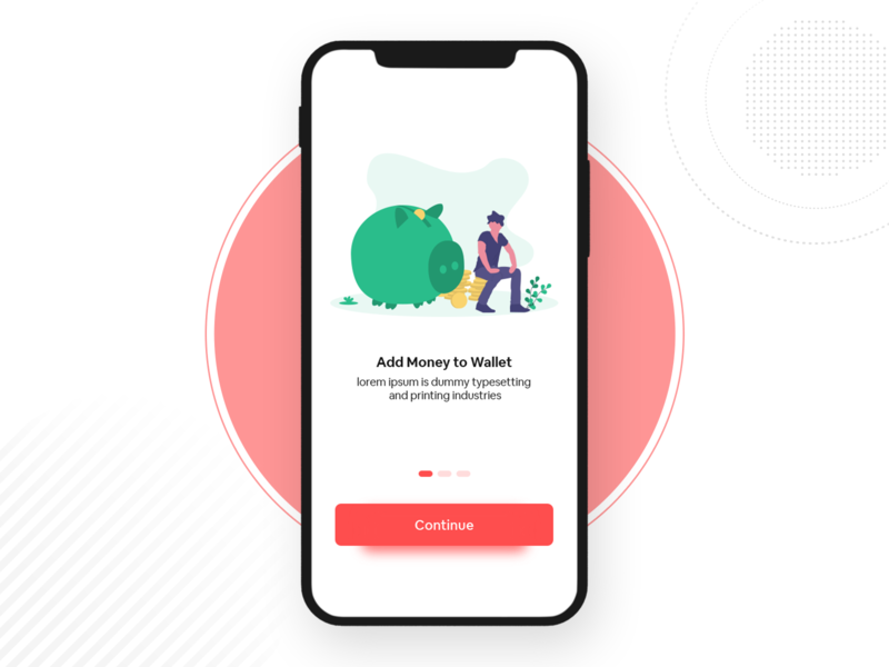 Wallet Introduction UI iphone simple watercolor red onboarding ui walktrough onboarding illustration minimal payment app payment walletapp money wallet