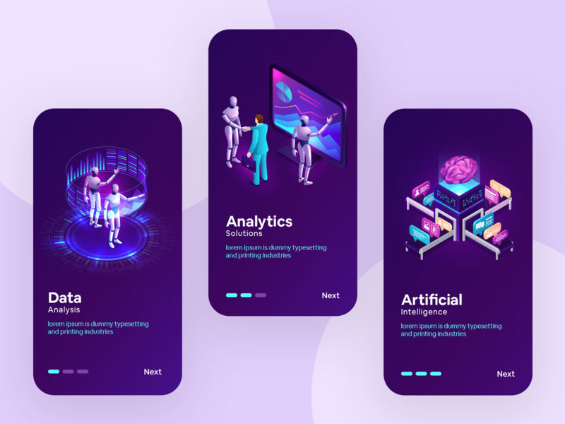 Onboarding Samples : Trending Technology design ios cards debut walktrough ai graphic art isometric character 3d machine learning data science artificial intelligence illustrations app