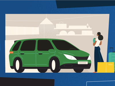 Drive Safe #Illustration italiandesigner madeinitaly luggage green blue mumandson woman drive minivan safety car singlemom mothersday illustration illustrator drivesafe