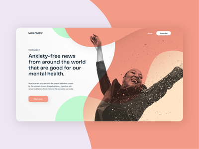 Landing page #DailyUI003 colourscheme wave layout italiandesigner woman landing page dailyui goodnews positivity nicefacts goodvibes happy happiness uidesigner uidesign landingpage