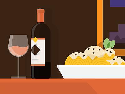 Hunger moment #1 spaghetti cacio pepe vino wine italy restaurant flat pasta red rosso illustration