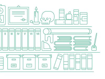 Human being story human book study evolution illustration outline skull apple darwin green bookcase