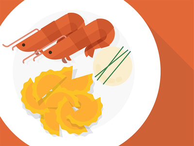 Hunger moment #2 hungry food orange shrimp ravioli pasta illustration flat long shadow italy