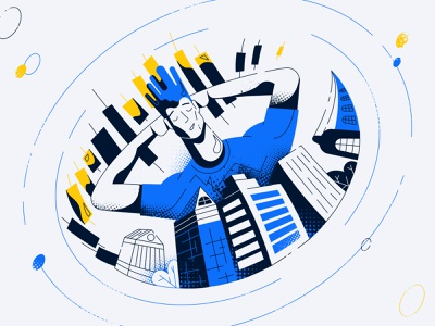 Real Estate or Stocks vector illustration