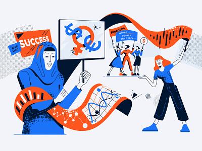 Female FX trading vector illustration