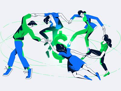 Dance of money vector illustration