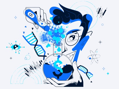 Chemistry of trading vector illustration
