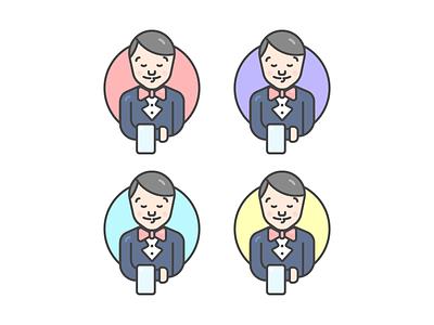 Waiter suit illustration servant serve man character waiter