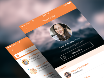 Moment Profiles & Inbox Screens inbox activity profile social scheduler parents moment mobile kids ios class app
