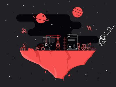 Space build astronaut rocket stars icon bulldozer heavy equipment rock planet app hippo space