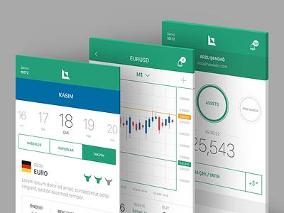 The Calendar & Parity Detail & Account Pages account calendar ios trading mobile app list parities finance forex alb