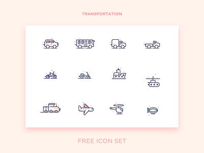 Transportation submarine helicopter transportation bike ship zeppelin plane bus car free icon set icon