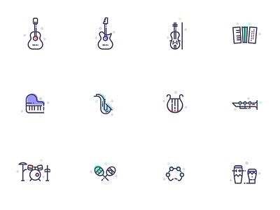 Musical Instruments instrument music clarinet drum set harp piano violin guitar free icon set icon