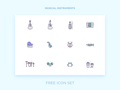 Musical Instruments instrument music clarinet drum set harp piano violin guitar free icon set icon