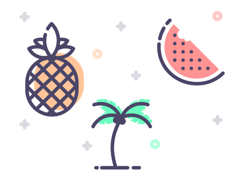 Freebie Icons flat art vector line illustration download free summer palm watermelon pineapple icon freebie